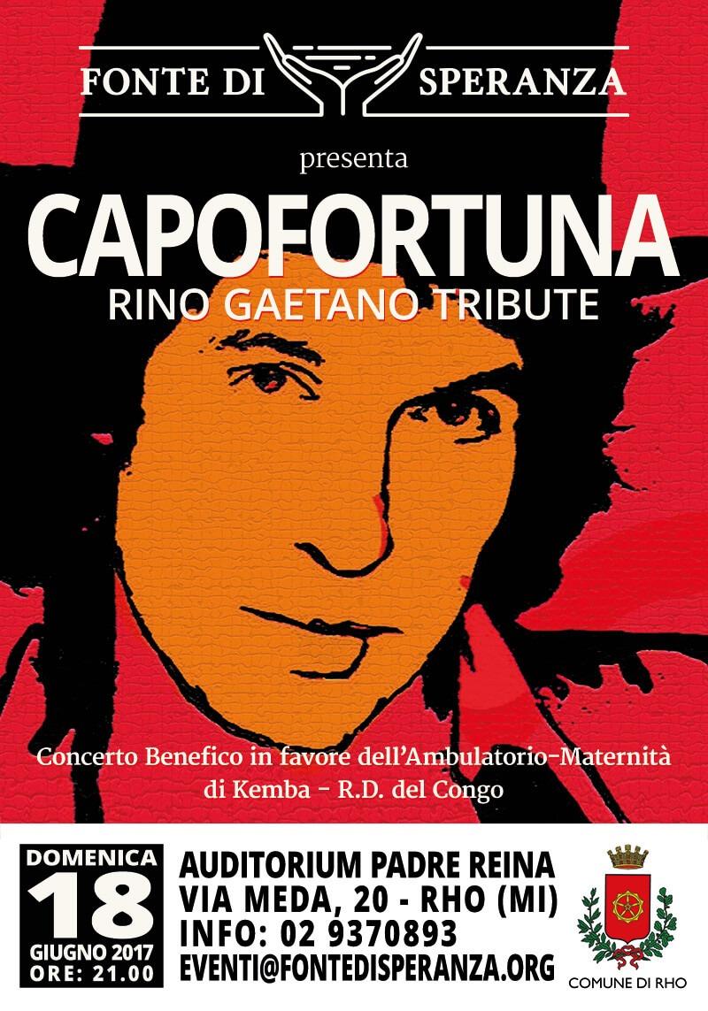 Locandina concerto a Rho - Tributo Rino Gaetano per i Capofortuna