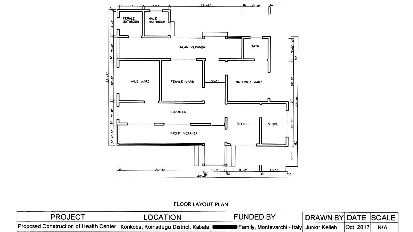 Planimetria del centro medico di Konkoba 3