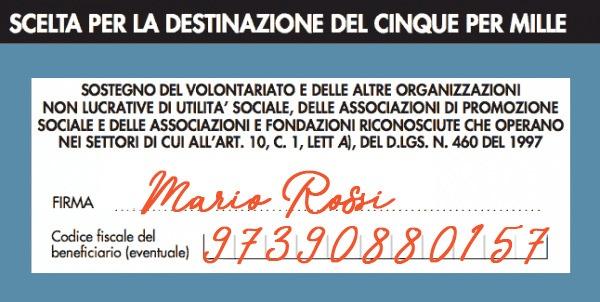 Come donare il 5x1000 - Mario Rossi - Esempio 5per1000