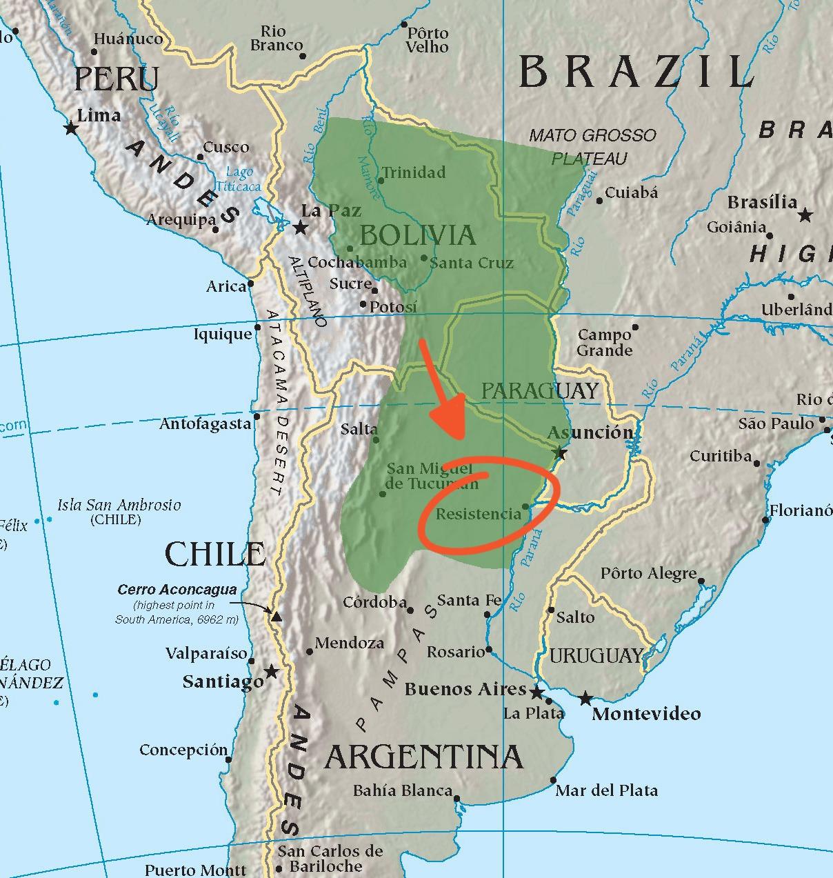La regione Gran Chaco, in Argentina, dove attualmente vivono i Qom