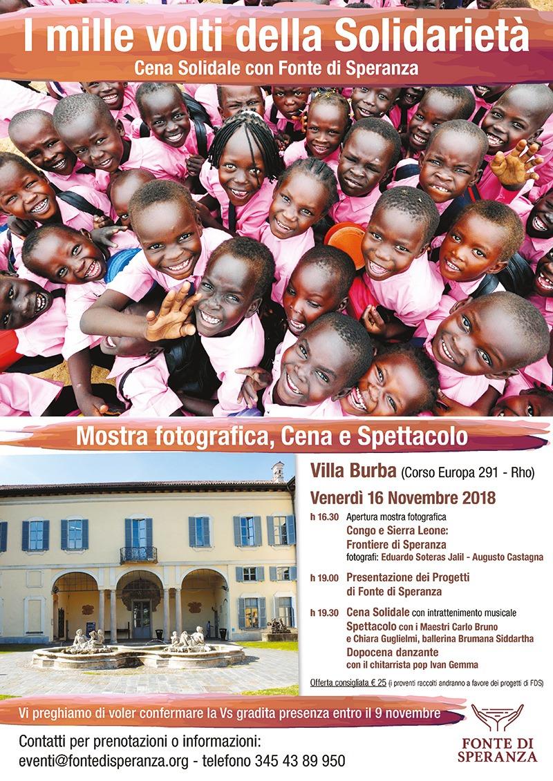 Fonte di Speranza - Invito Cena Villa Burba 2018 - I mille volti della solidarietà
