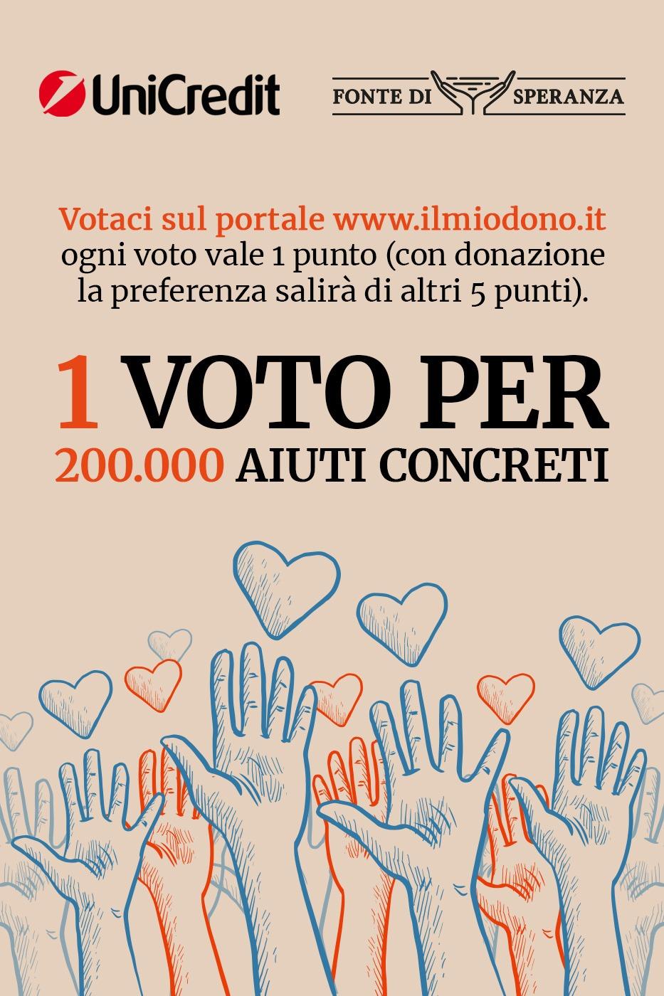 Vota Fonte di Speranza al concorso di Unicredit 1 voto per 200.000 aiuti concreti